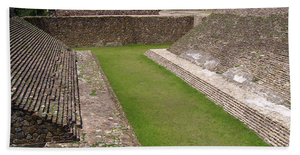Monte Alban Hand Towel featuring the photograph Ball Court by Michael Peychich