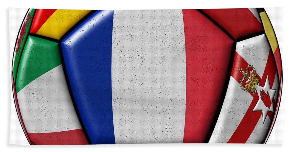 Championships Bath Sheet featuring the digital art Ball With Flag Of France In The Center by Michal Boubin