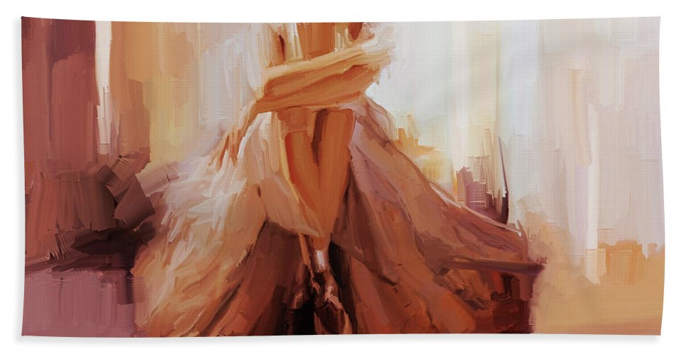 Ballerina Bath Towel featuring the painting Ballerina Dancer Sitting On The Floor 01 by Gull G