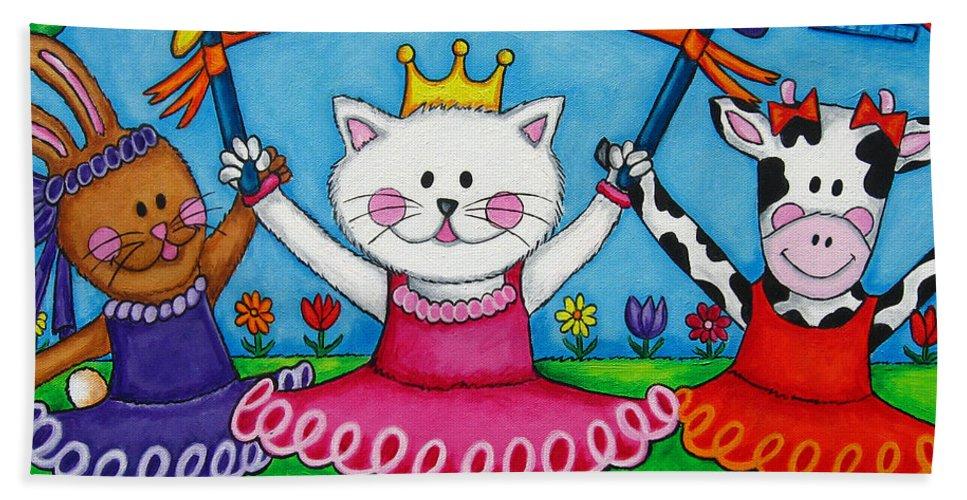 Kitten Bath Towel featuring the painting Ballerina Friends by Lisa Lorenz