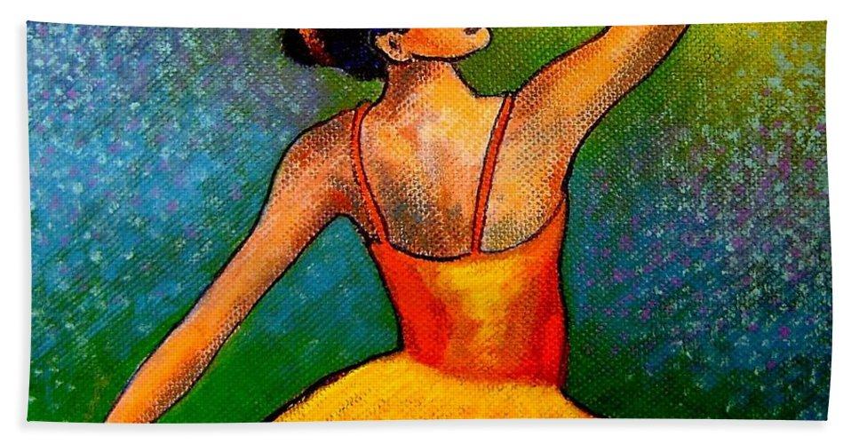 Ballerina Hand Towel featuring the painting Ballerina by John Nolan