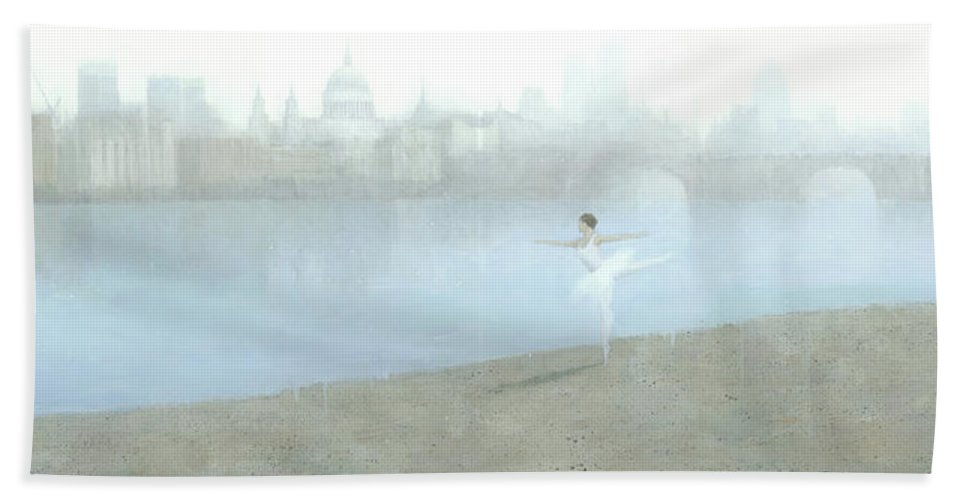 Ballerina Bath Sheet featuring the painting Ballerina On The Thames by Steve Mitchell