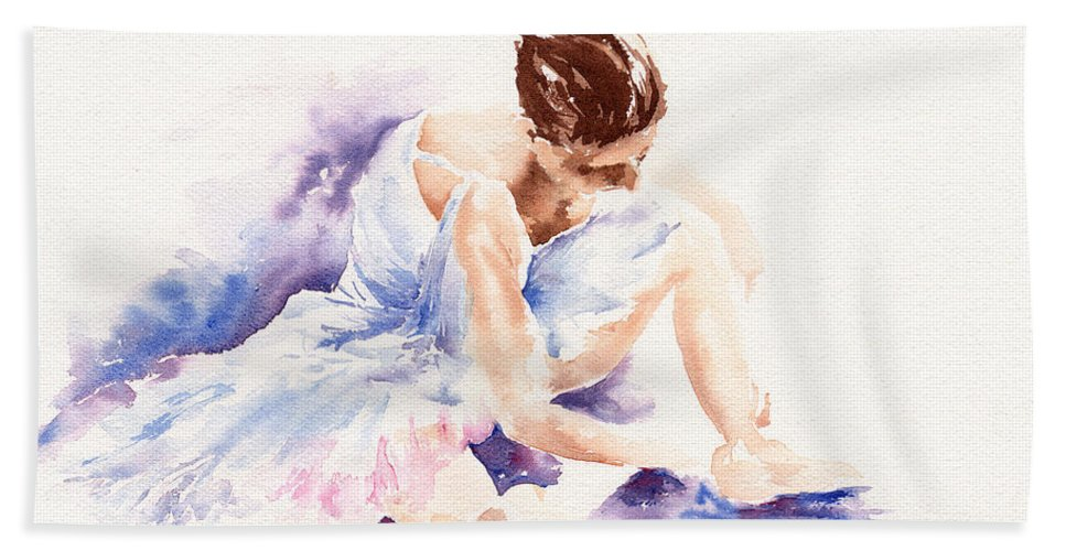 Ballerina Hand Towel featuring the painting Ballerina by Stephie Butler