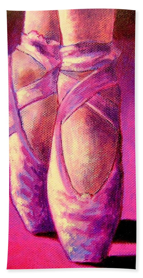 Ballet Hand Towel featuring the painting Ballet Shoes II by John Nolan