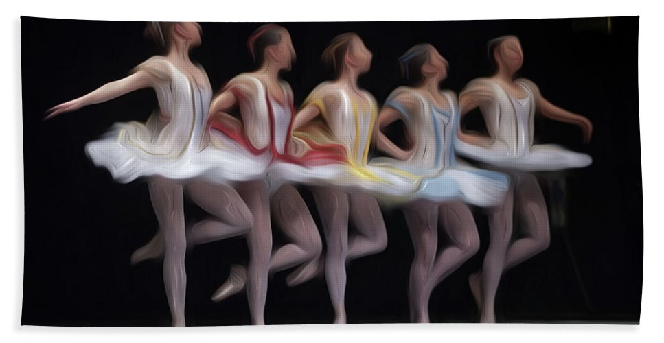 Ballet Bath Sheet featuring the pyrography Ballets by Gabriele Rodriquez