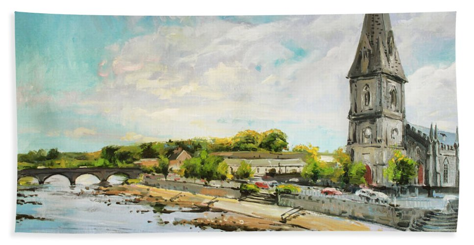 Ballina County Mayo Ireland Paintings Bath Sheet featuring the painting Ballina On The Moy 11 by Conor McGuire