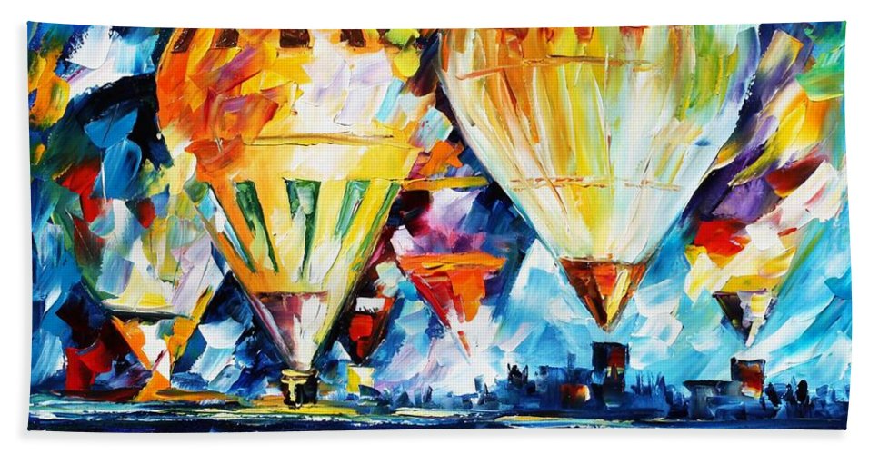 Afremov Bath Sheet featuring the painting Balloon Festival New by Leonid Afremov