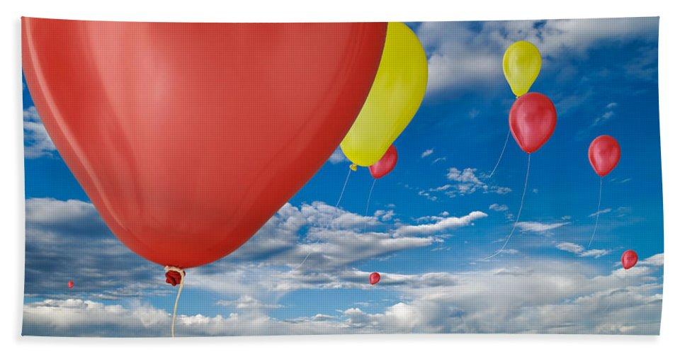 Cloud Bath Sheet featuring the photograph Balloon Launch by Steve Gadomski