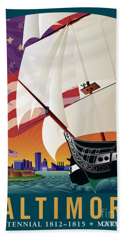 Baltimore Bath Sheet featuring the digital art Baltimore - By The Dawns Early Light by Joe Barsin