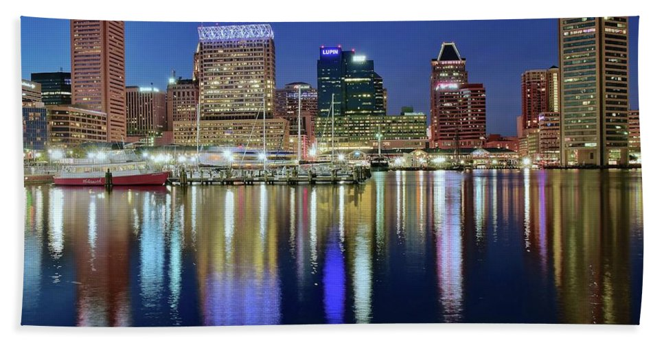 Baltimore Bath Sheet featuring the photograph Baltimore Blue Hour by Frozen in Time Fine Art Photography