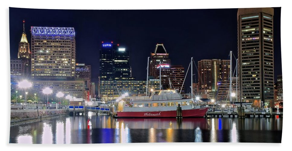 Baltimore Bath Sheet featuring the photograph Baltimore Harbor At Night by Frozen in Time Fine Art Photography
