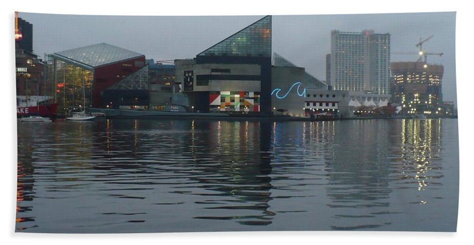 Baltimore Hand Towel featuring the photograph Baltimore Harbor Reflection by Carol Groenen