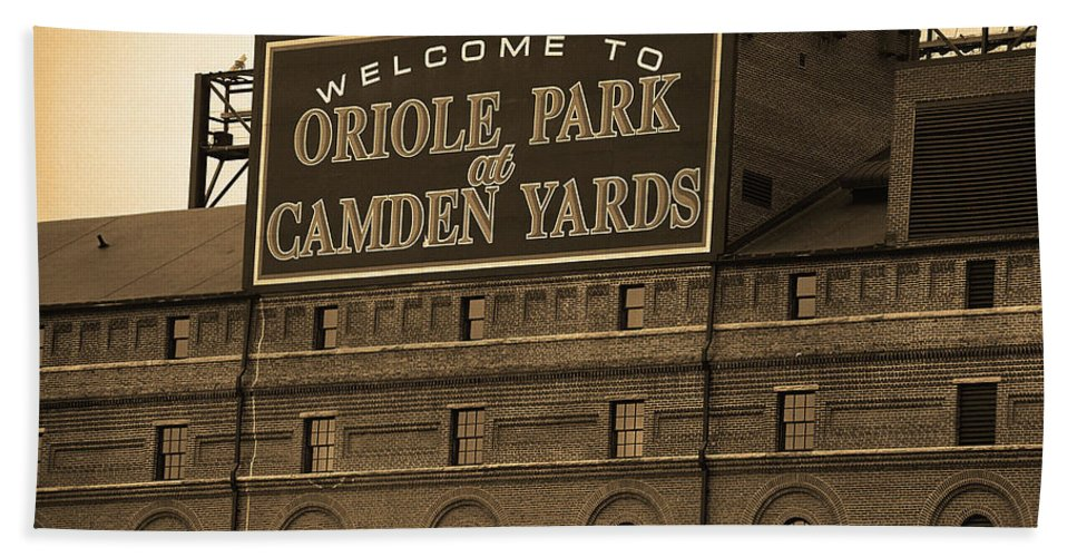 America Bath Towel featuring the photograph Baltimore Orioles Park At Camden Yards Sepia by Frank Romeo