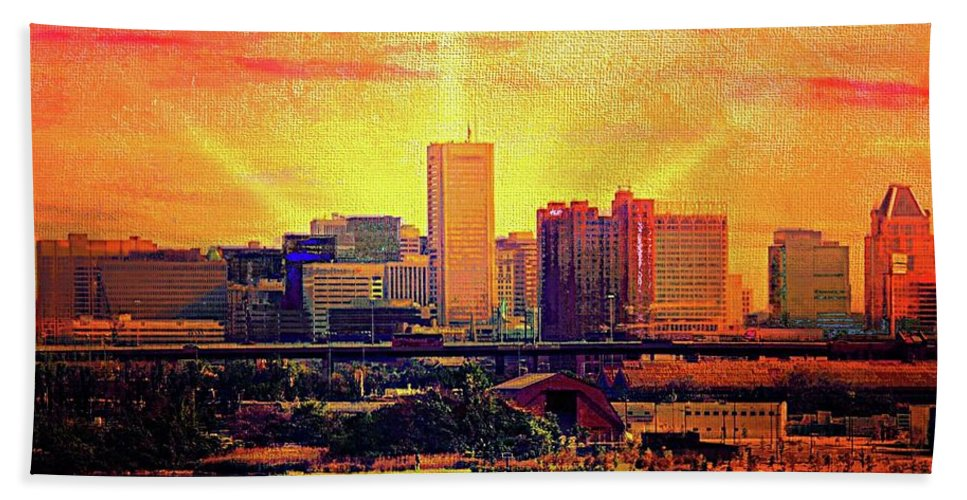 Baltimore Sunrise Hand Towel featuring the mixed media Baltimore Sunrise by Ced Dembeckl
