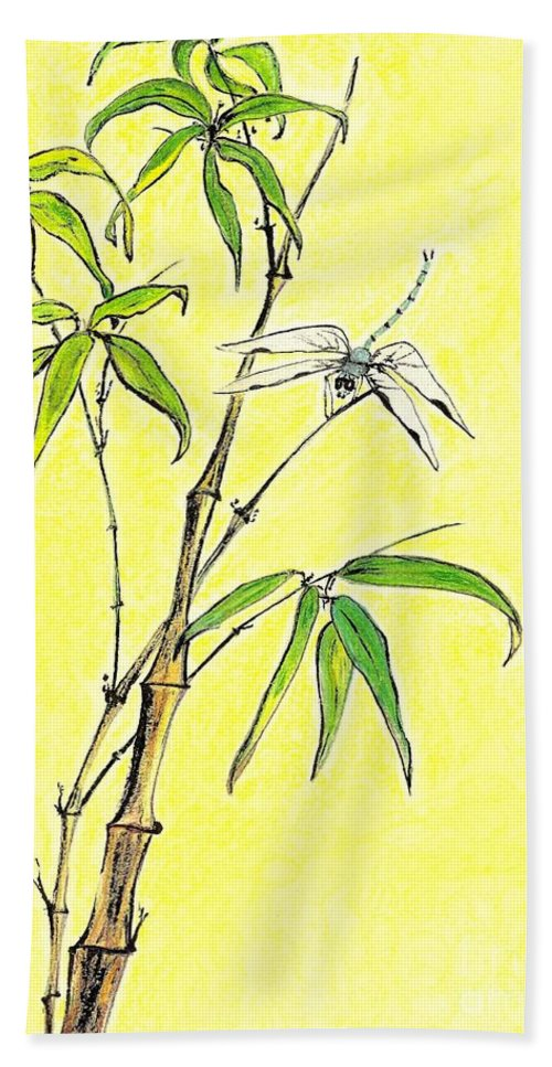 Dragonfly Hand Towel featuring the mixed media Bamboo And Dragonfly by Irina Davis