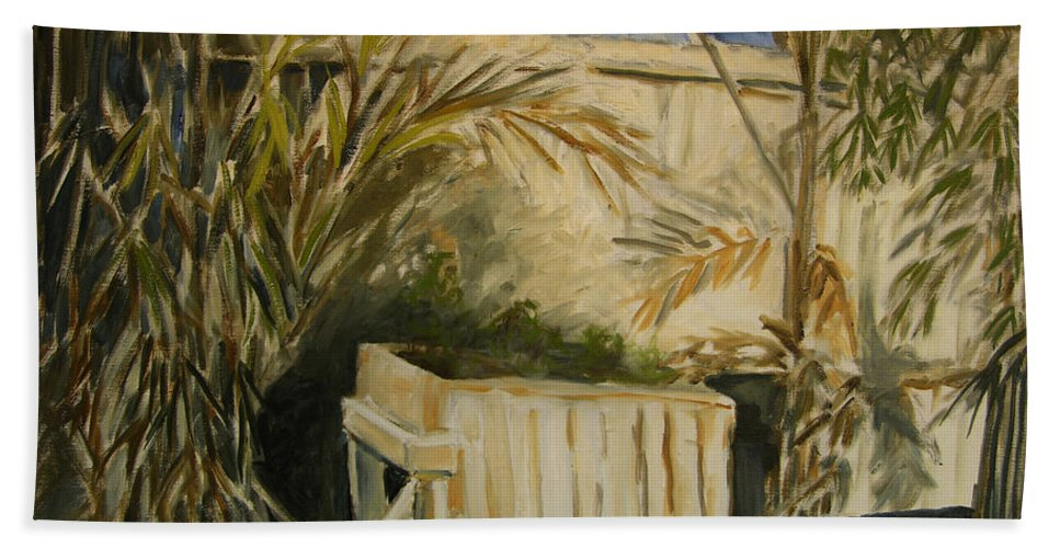 Original Oil Bath Sheet featuring the painting Bamboo And Herb Garden by Julianne Felton