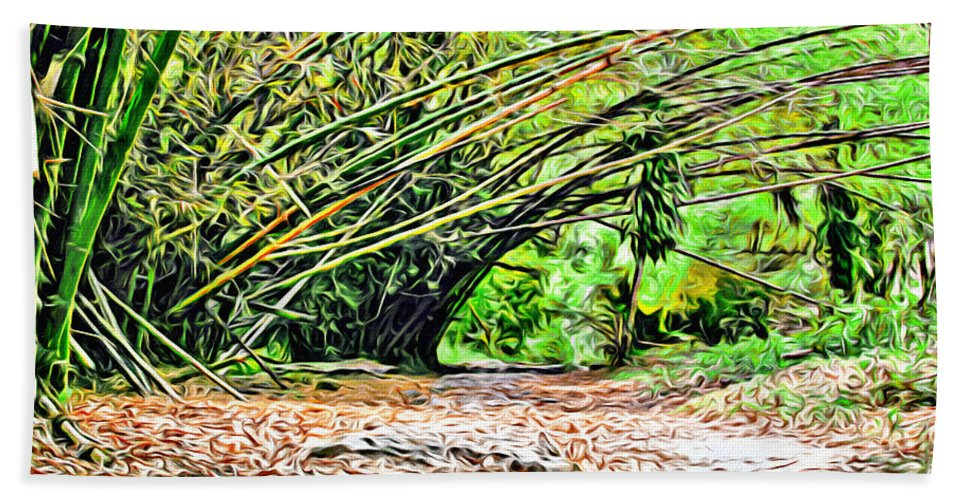 Tobago Hand Towel featuring the digital art Bamboo Forest by Anthony C Chen