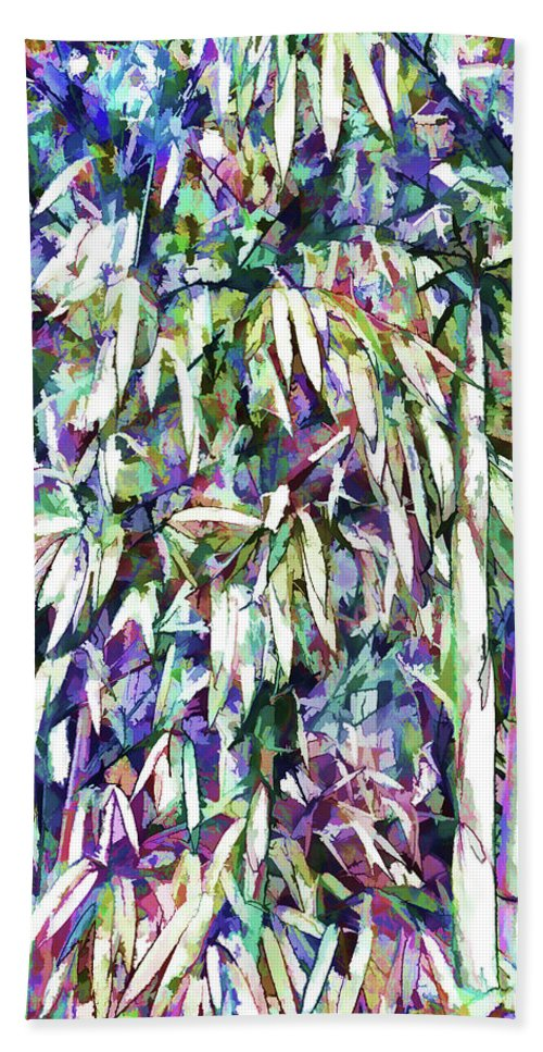 Bamboo Forest Background Bath Sheet featuring the painting Bamboo Forest Background by Jeelan Clark