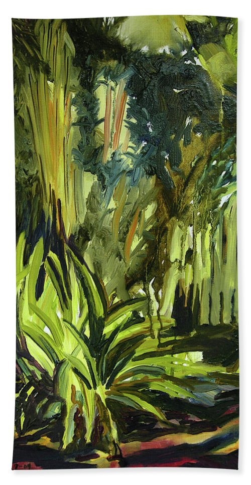 Canvas Prints Hand Towel featuring the painting Bamboo Garden I by Julianne Felton