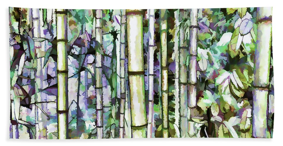 Art Of Bamboo Bath Sheet featuring the painting Bamboo Grove In A Botanical Garden by Jeelan Clark