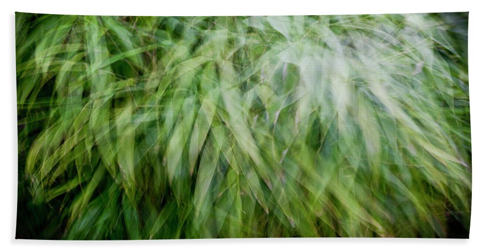 Abstract Bath Sheet featuring the photograph Bamboo In The Wind by Gary Eason