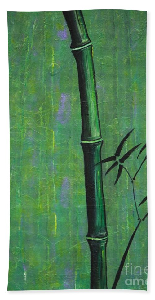 Bamboo Hand Towel featuring the painting Bamboo by Jacqueline Athmann
