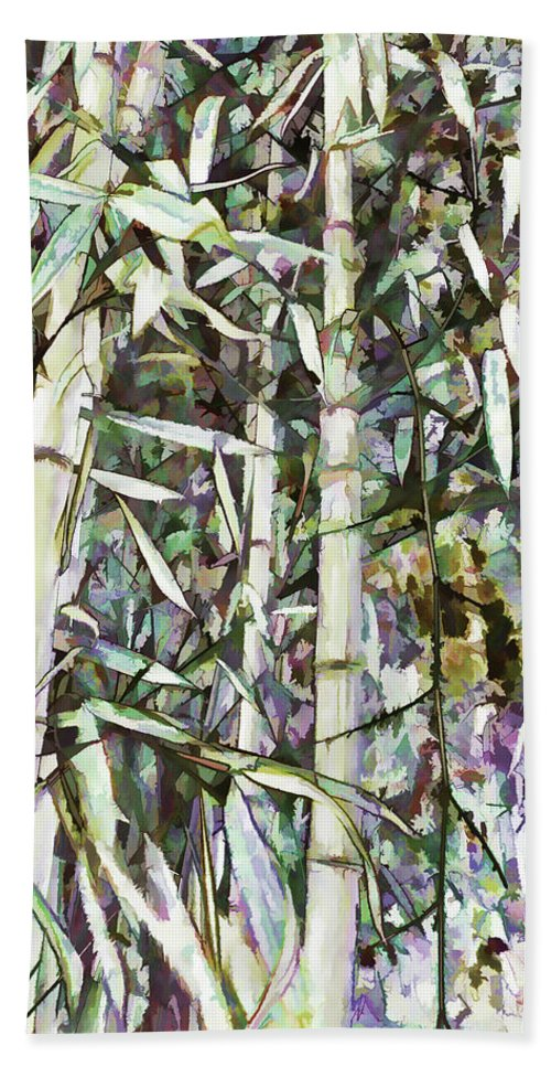 Art Of Bamboo Bath Sheet featuring the painting Bamboo Sprouts Forest by Jeelan Clark