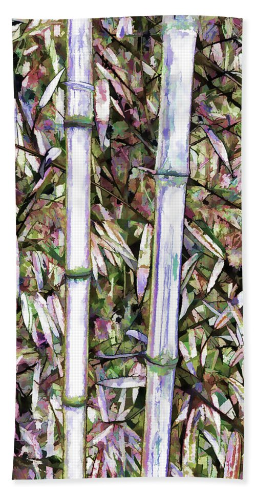 Bamboo Stalks Bath Sheet featuring the painting Bamboo Stalks by Jeelan Clark