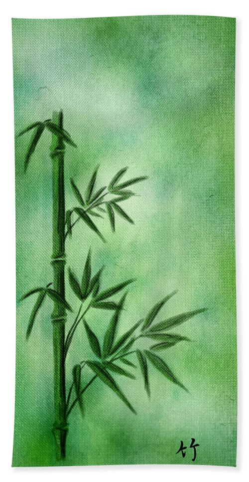 Abstract Hand Towel featuring the digital art Bamboo by Svetlana Sewell