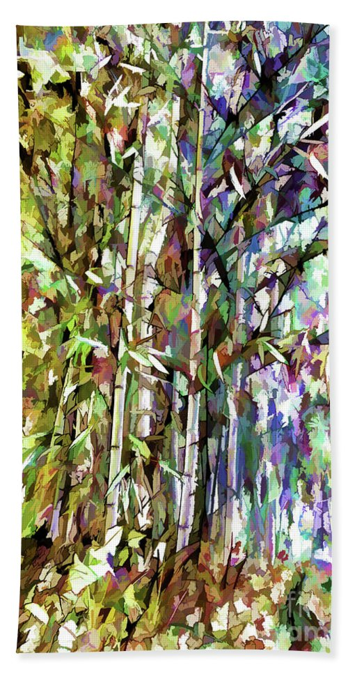 Ancient Hand Towel featuring the painting Bamboo Trees In Park by Jeelan Clark