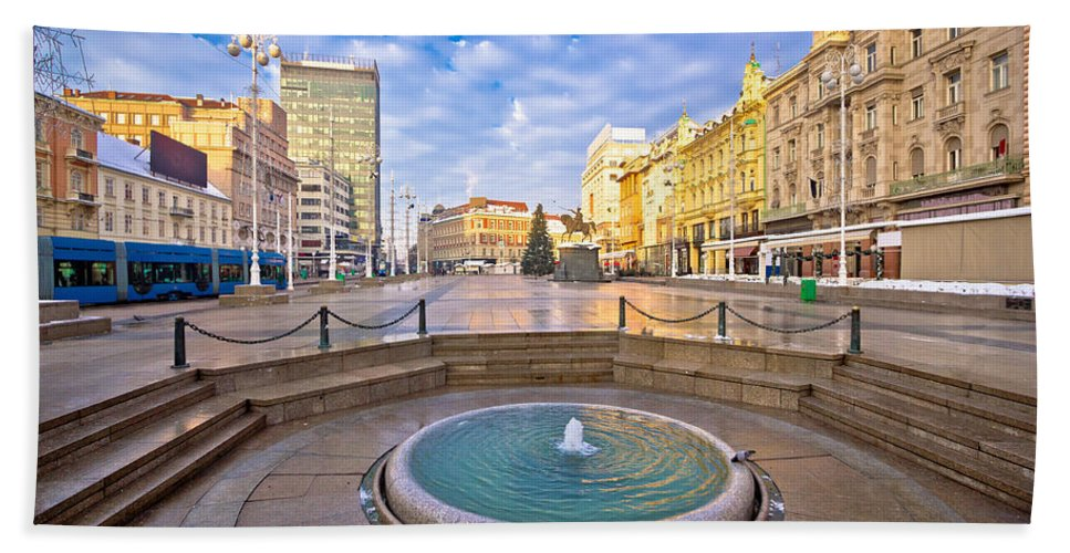 Croatia Hand Towel featuring the photograph Ban Jelacic Square In Zagreb Advent View by Brch Photography