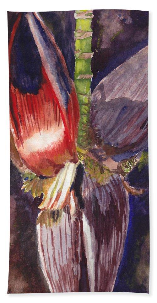 Banana Flower Hand Towel featuring the painting Banana Bloom by Matthew Doronila