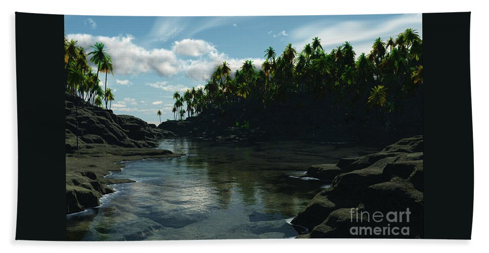 Rivers Hand Towel featuring the digital art Banana River by Richard Rizzo
