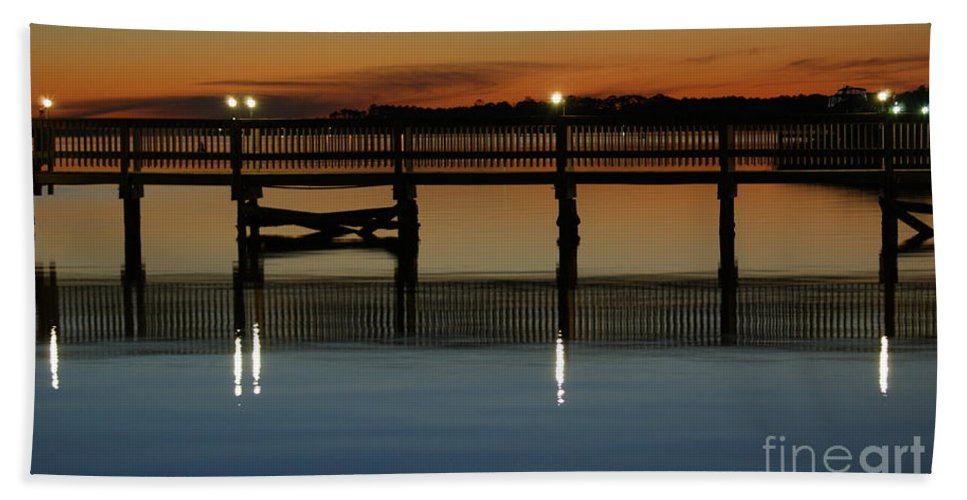 Pier Hand Towel featuring the photograph Calm Waters by Jennifer Diaz