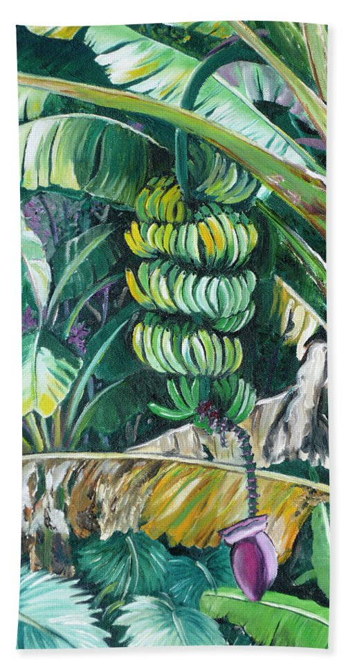 Caribbean Painting Bananas Trees P Painting Fruit Painting Tropical Painting Bath Towel featuring the painting Bananas by Karin Dawn Kelshall- Best