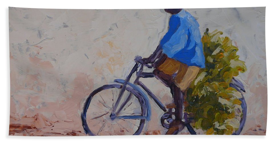 Bicycle Hand Towel featuring the painting Bananas by Yvonne Ankerman