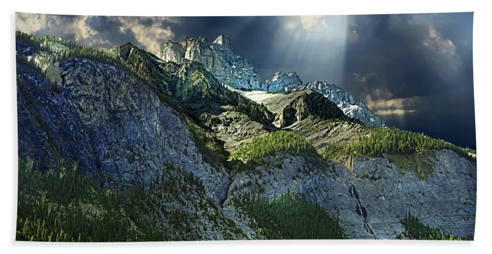 Mount Cory Hand Towel featuring the photograph Mount Cory, Banff by Ken McMullen