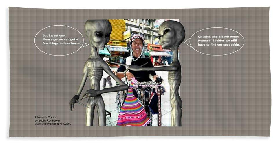 Alien Nutz Comics Bath Towel featuring the mixed media Bangkok 2 by Robert aka Bobby Ray Howle