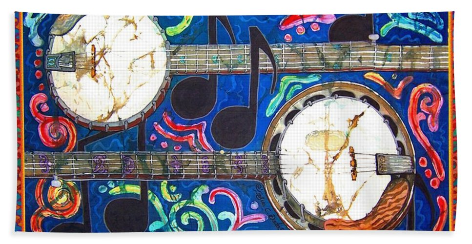 Banjo Hand Towel featuring the painting Banjos - Bordered by Sue Duda