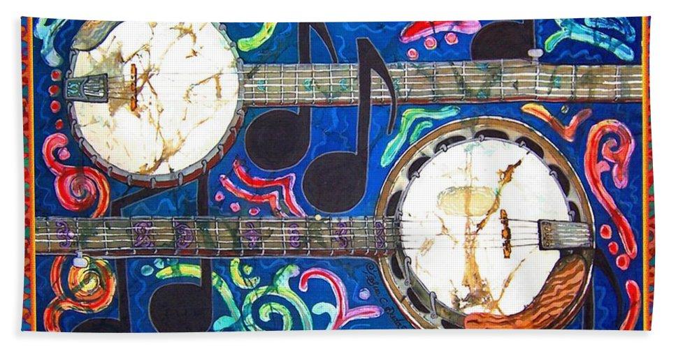 Banjo Bath Towel featuring the painting Banjos - Bordered by Sue Duda