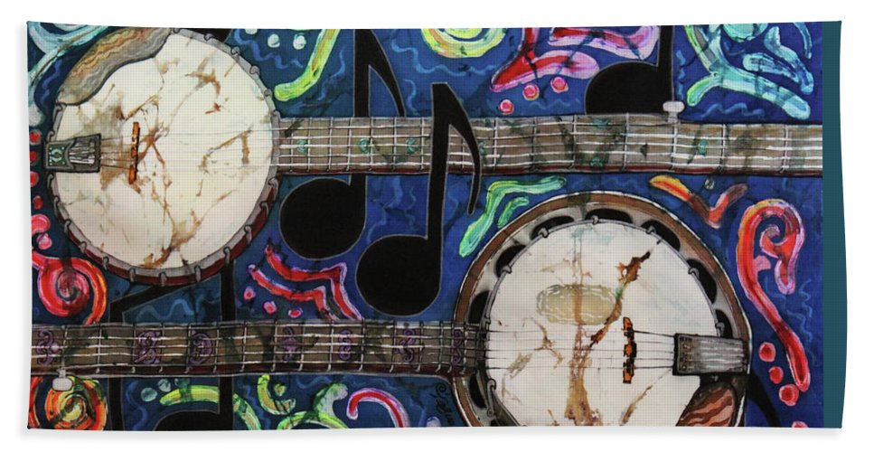 Banjo Hand Towel featuring the painting Banjos by Sue Duda