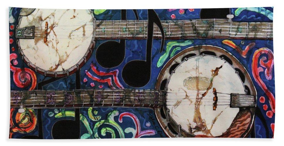 Banjos Bath Towel featuring the painting Banjos by Sue Duda