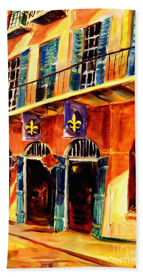 New Orleans Hand Towel featuring the painting Banners On Royal Street by Diane Millsap