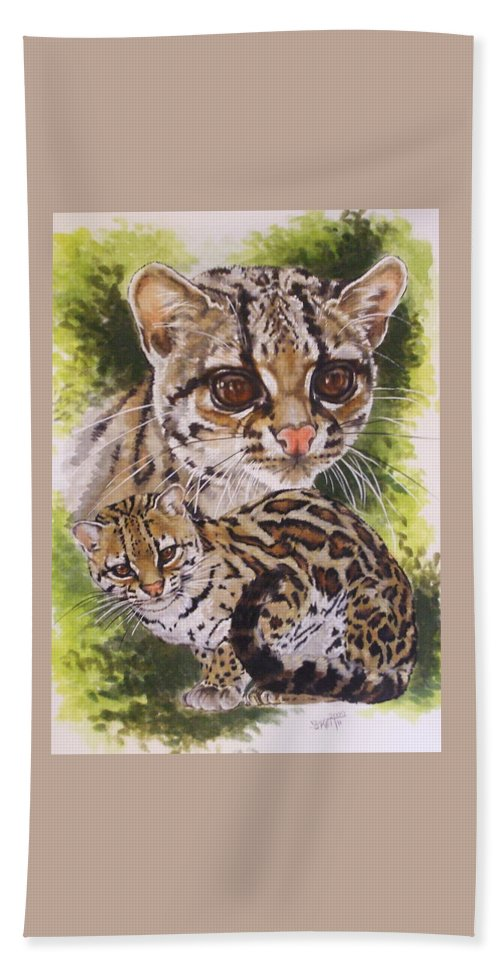 Margay Bath Towel featuring the mixed media Bantam by Barbara Keith