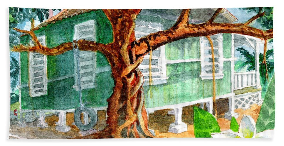 Banyan Tree Hand Towel featuring the painting Banyan In The Backyard by Eric Samuelson