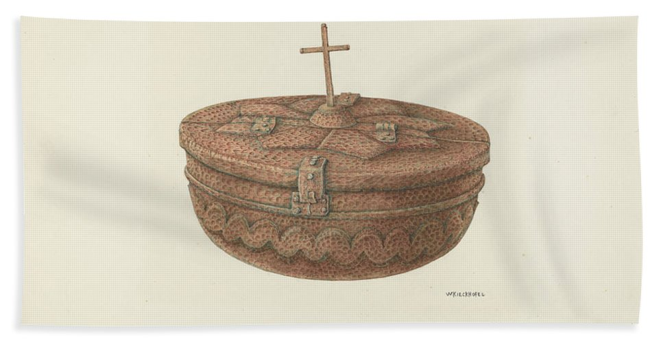 Hand Towel featuring the drawing Baptismal Font by William Kieckhofel