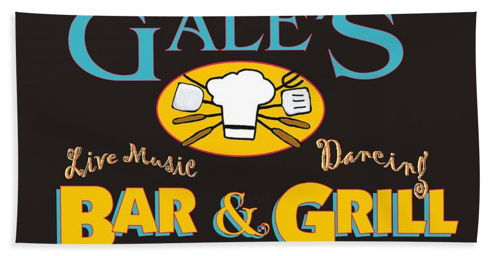 Bar And Grill Sign Hand Towel featuring the painting Bar And Grill Sign by Priscilla Wolfe
