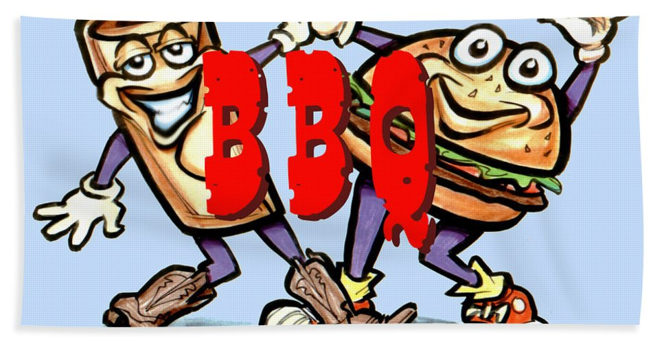 Bbq Hand Towel featuring the greeting card Bar-b-q by Kevin Middleton