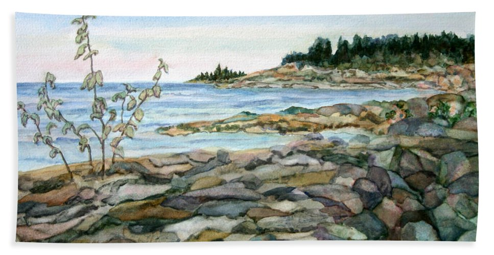 Bar Harbor Hand Towel featuring the painting Bar Harbor by Pamela Parsons