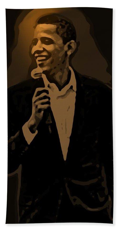 Barack Bath Towel featuring the digital art Barack Obama by Helmut Rottler